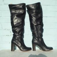 Faith Black Leather Boots Size Uk 6 Eur 39 Sexy Womens Pull on OTK Pirate Boots