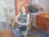 PORTRAIT OF SARAH LISTED ARTIST JULIAN GORDON MITCHELL  FREE SHIPPING TO ENGLAND