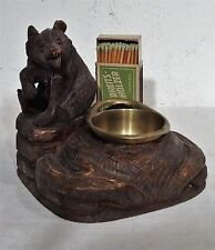 Antike Holzschnitzarbeit Sculptur Brienzer Bär Schale u. Streichholzhalter ~1900