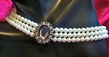 Elegant Victorian Style 3 Strand Faux Pearl & Rhinestones Choker, Avon