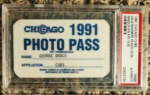 1991 Chicago Cubs PSA Pass Ticket Ryne Sandberg #200 HR /Greg Maddux Win Ex