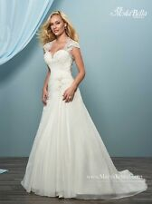 Mary's Bridal Wedding Gown #3y626 Ivory size 20 Lace Cap Sleeves Chiffon A-Line