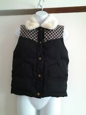 BNWOT - TOPSHOP - WOMENS BLACK PADDED WITH FUR COLLAR GILET - SIZE 6