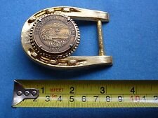 PRUDHOE BAY TRUCKERS PIPELINE BELT BUCKLE OIL ICE ROAD ALASKA LUCKY HORSE SHOE