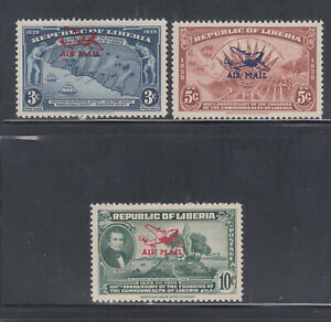 Liberia # C14-16 MNH OVERPRINT ERRORS in Issued Colors