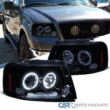 Glossy Black Fit 04-08 F150 06-08 Mark LT LED Halo Projector Headlights Pair