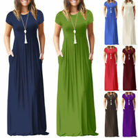 Womens Short Sleeve Maxi Long Loose Dress Solid Party Shirt Sundress Plus Size