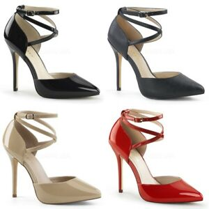 """PLEASER Amuse-25 d'Orsay Strappy Criss Cross Work Dress Party 5"""" Pumps Heels"""