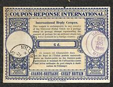 IRC INTERNATIONAL REPLY COUPON GREAT BRITAIN 6d TYPE B5 1946 TO USA !!