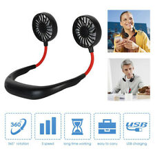 Portable USB Neckband Fan Rechargeable Lazy Neck Hanging Dual Cooling Mini Fan