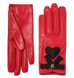 NEW GUCCI RED LAMBSKIN LEATHER FELINE HEAD HEART GROSGRAIN BOW GLOVES sz 6.5
