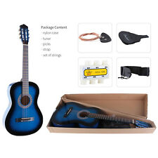 "38"" Lagrima  Acoustic Guitar W/Guitar Pick,Case,Strap,Tuner,Steel Strings Blue"