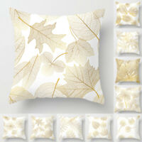 Home Decorative Pillow Case Golden Leaves Sofa Waist Throw Cushion Cover Square