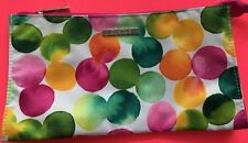 CLINIQUE COSMETIC MAKEUP BAG VIBRANT MULTI-COLOR CIRCLE ROUND ABSTRACT PATTERN