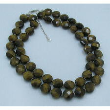 2 Strand .925 Sterling Silver Natural High Grade Tigers Eye Faceted Cut Necklace