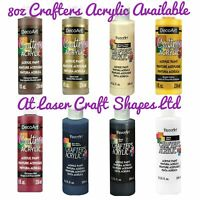 DecoArt Crafters Acrylic Craft Art Paint - All purpose - 8 Colours - Large 8oz