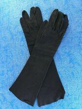 Long Black Suede Vintage Gloves Ladies Size 7 France Abraham & Strauss