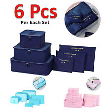 6Pcs Travel Luggage Organizer Bag Clothes Underwear Socks Packing Cube Storage