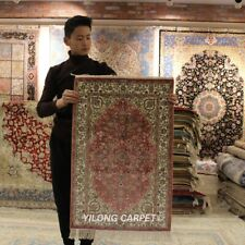 Yilong 2'x3' Pink Hand knotted Carpet Dining Room Hand Woven Silk Area Rug 135A