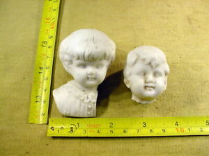 2 x excavated vintage lovely bisque doll head Hertwig age 1890 Germany Art 15906