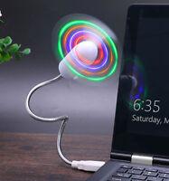 LED LIGHT USB MINI FAN cooling portable flexible laptop desk desktop computer pc