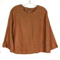 Bryn Walker Blouse 100% Linen size S Lagenlook Oversized Knit Shirt Orange Shirt