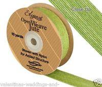 Pistachio Green Open Weave Jute Ribbon x 10yds - Eleganza - Craft Wedding