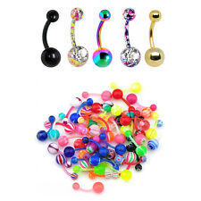 Lot of 25  Belly naval Rings 14G Flexi and  Surgical Steel  Mix
