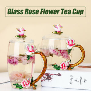 Crystal Glass Enamel Rose Flower Tea Cup Juice Coffee Mugs 320-350ml Milk Saucer