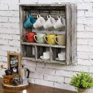 Wall Mounted Coffee Mug Kitchen Display Rack & Storage Shelf