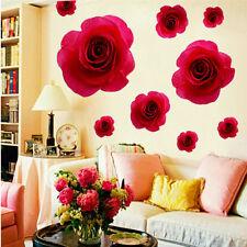 Elegant Red Rose Flower Wall Sticker Removable Decals Home Decor Vinyl Mural luz