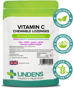 Lindens Vitamin C 1000mg 60 Chewable Lozenges   Orange   High-Strength   Immune