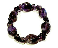 Bijou bracelet perles améthyste sur élastique souple bangle