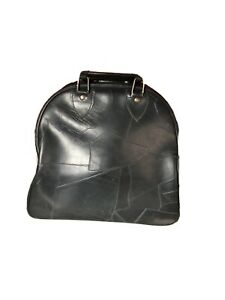 Brunswick Black Genuine Leather Bowling Bag With Wire Rack, Mint Condition