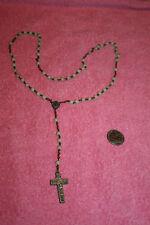 Vintage Crucifix Rosary Copper Links Semi Glow Plastic Beads