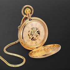 Numeral Retro Train Design Fashion Mechanical Pocket Watch Golden Dial Roman