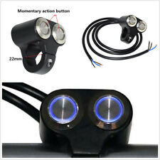 "7/8""Motorbike Handlebar Switch Engine Start Kill Dual Button LED Self-return Kit"