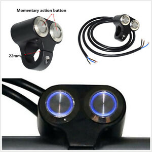 "7/8""Motorbike Handlebar Switch Engine Start Kill Dual Button LED Self-return Kit"