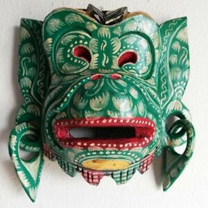 Bali Wood Mask Hanuman Monkey Face Decorative Green Handmade Wall Décor Topeng