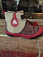 CROCS Suede LEATHER Faux Fur Warm Winter Boots Boys Girls Shoes JUNIOR SIZE 1