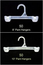 "100 Retail Pants Clothes Hangers Mixed Lot 50 each 8"" & 10"" Plastic Snap Lock"