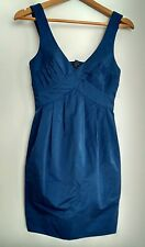 ALL SAINTS pinafore dress size 6 blue --MINT-- plunge back Stunning curvy fit