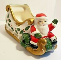 Vitabath Ceramic Santa with Sleigh Hand Painted 7 Inches Long