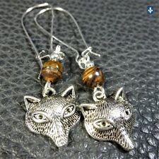 ♥ Light Charming Tiger's Eye Plated Silver Fox Earrings