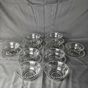 Imperial Glass Candlewick Hobnail Edge Clear Glass Bowls And Plates Set of 4