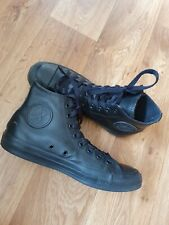 All Star Converse Black Leather High Top Trainers , Shoes , Size Euro 40 Uk 7