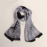 Women's Fashion black&white Noble style Long Wrap Lady Shawl Silk&Chiffon Scarf