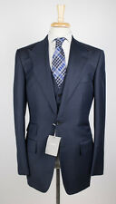 NWT TOM FORD Classic Blue Peak Lapels Wool 2 Button 3 Piece Suit 48/38 L Base A
