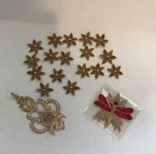 Lot of 19 Applique Sew Patches - Gold Shimmer (17 Rhinestone Flowers 2 Large)