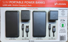 2 Ubio Labs Slim Power Banks 6000mAh RAPID CHARGE Micro USB Android, iPhone ++